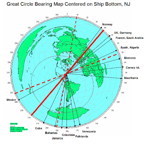 Lbi Nj: LBI Great Circle Map